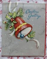 Vintage 1940s Gray Embossed Christmas Greeting Card Red Jingle Bell & Holly