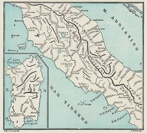 C3350 Rivers Dell'Italia Central - Map Period - 1934 Vintage Map