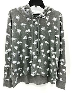 Chaser Womens Gray Palm Trees Cropped Hoodie Gray Size Medium NWT