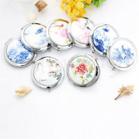 1pc Ceramic Compact Pocket Folding Makeup Cosmetic Magnifying Mirror Xmas Gift
