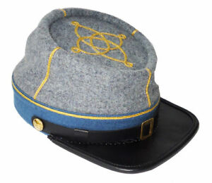 Civil War CSA Infantry 1st 2nd Lieutenant Leather Peak Kepi, Grey/Sky Blue Band