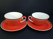 2 x Whittard Of Chelsea Multi Stripe Jumbo Breakfast Cup & Saucer Red