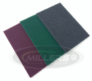 3 X Starchem Scotchbrite Abrasive Finishing Pads 1 Of Each Red, Grey & Green