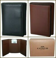 Coach Mens Trifold Wallet Leather Sport Calf Pebble Black / Saddle F23845 $150