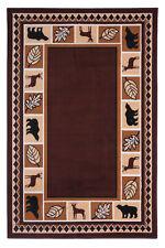 2'x4' Brown Wildlife Bear Moose Rustic Lodge Cabin Carpet Area Rug - 631