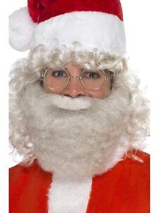 Deluxe Santa Beard Pearl Grey Santa Claus Fancy Dress Accessory 16.5cm