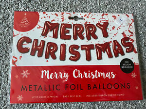 Red Merry Christmas balloon banner Garland Christmas Decoration