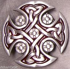 Pewter Belt Buckle Religious Celtic Cross red NEW