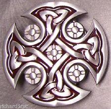 Pewter Belt Buckle Religious Celtic Cross red NEW