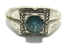 STERLING SILVER BLUE TOPAZ CLEAR STONE RING SIZE 14   6 GRAMS SYBOLL