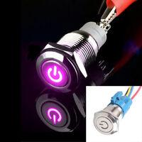 AT 16mm 12V 3A Car Purple LED Metal Push Button Toggle Switch Socket Plug Sales