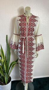 Vintage Maxi Dress 1970's Cream Kaftan Greece Cotton Blend