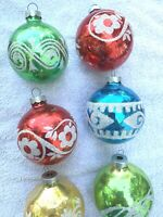 CHRISTMAS ORNAMENTS VTG MCM glass ornaments 6 RED BLUE GOLD GREEN