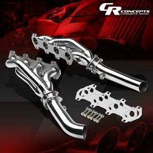 FOR 04-10 FORD F150 5.4 V8 STAINLESS EXHAUST MANIFOLD HEADER+MID PIPE+GASKET