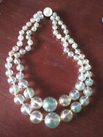VINTAGE AURORA BOREALIS PEARL HAND KNOTTED 2 STRAND NECKLACE
