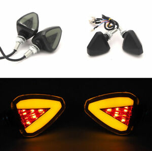 Pair 12V Motorcycle Scooter Dual Color LED Turn Signal Indicator Brake/DRL Light