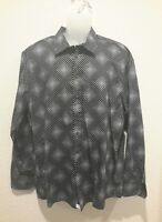 NEW Haupt mens button front shirt XL 43/44 17.5 black white cotton NWOT GERMANY