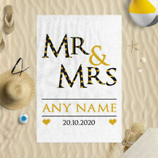 "Personalised Mr & Mrs Wedding Date Design 58"" x 39"" Microfibre Beach Towel Gift"