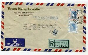 Hong Kong regist. airmail cover to Genoa Italy 14-8-1962 s/scans