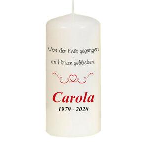 Trauerkerze Gedenkkerze individuell mit Namen und Datum