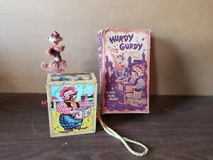 Mattel Hurdy Gurdy organ grinder & dancing monkey with box 1951