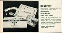 1952 Magazine Print Ad Monopoly Board Game Parker Brothers Salem,MA
