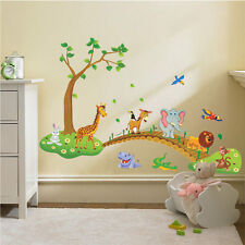 Jungle Animal Across the Bridge Forest Tree Wall Sticker Home Kids Bedroom Decor