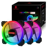 3 X Game RGB 16.8 Million Color LED Ring PC 120mm case fan + Control Max Eclipse