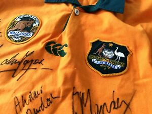 Australian Wallabies Signed Rugby Jersey including Trading Cards - Circa 1995