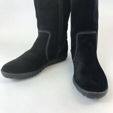 M&S Step Tone Black Leather Suede Ankle Zip Up Lined Comfort Flat Boots Size UK6