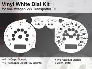 Volkswagen VW Transporter T5 (2002-2010) PreLift - 140mph - Vinyl White Dial Kit