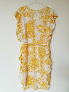 SeaFolly Farfetch Sunflower Yellow 70's Ruffled Beach Cover Up Dress Size XL 16
