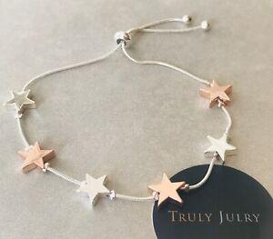 UK Ladies Designer Silver Rose Gold Drawstring Star Bracelet Jewellery Gift