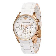 Emporio Armani AR5920 Sportivo Rosetone Chronograph White Silicone Mens Watch