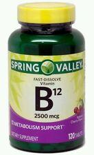 2x Spring Valley Fast Dissolve Vitamin B12 Cherry Flavored 2500mcg 120ea Exp9/17