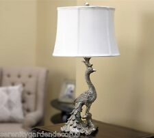 """Elegant 28"""" Peacock Design Antiqued Silver Finish Table Lamp with White Shade"""