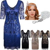 Art Deco 1920s Flapper Beaded Dress Gatsby Party Wedding Evenings Dress Clubwear