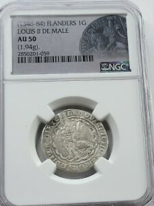 NGC AU50 Louis II de Mâle AR Gros. 1346-1384 AD. Flanders, Belgium.