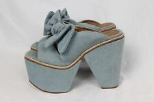 Jeffrey Campbell New Blue Denim Rivera Bow Tie Pinup Wedge Sandals Heels sz 7