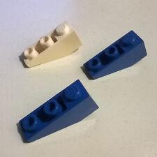 3X LEGO 4287 Slope Brick 33 3x1 Inverted Blue White 4402 6926 6971 6881 10192