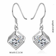 Women's Silver Cube Earrings With Crystal Stone Unique Gift Stocking Filler UK 1