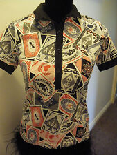 NWT AMY WINEHOUSE FRED PERRY DECK OF CARDS POLO TOP SIZE 8 EUR 36 USA 4