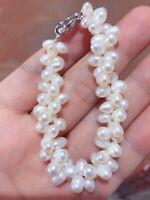 doppelt Stränge 7mm weiß Süßwasser Perle Armband, 8inch