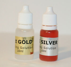 10ml 9ct Gold + 10ml 925 Silver Tester Spot On Testing Solution Kit Fluid