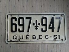 1961 Quebec License Plate  697 947 - Embossed -  - Canada - Montreal