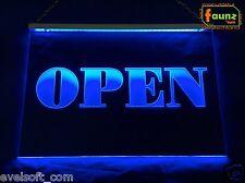 """LED Leuchtschild """"OPEN"""" blau opak oder Ihr Motiv Eingang Tür offen ©faunz"""