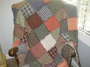 Farm House Charm ~Country~ Primitive~ Rag Quilt ~ Green ~ Blue ~ Red~ Beige ~