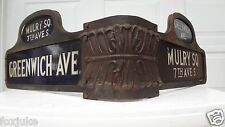 RARE 1900s NYC New York City Street Sign GREENWICH Ave & Mulry Square 7th Ave