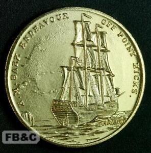1970 Captain Cook Commemorative Medal - HM Bark Endeavour off Point Hicks