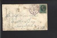 GLEN COVE, NEW YORK 1879 BANKNOTE COVER MALTESE FANCY CANCEL, NASSAU 1834/OP.